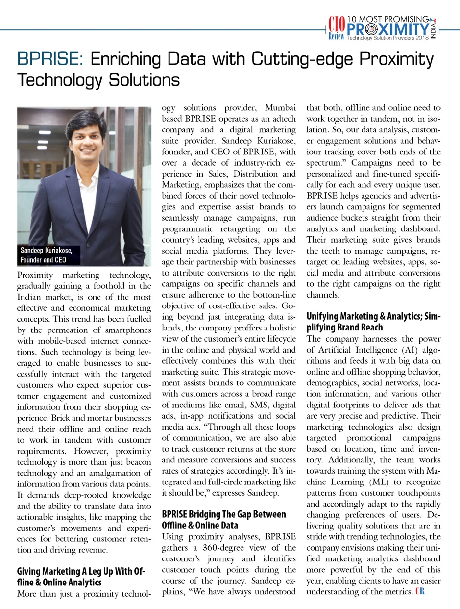 BPRISE Among The 10 Most Promising Proximity Technology Solution Providers of 2018 by CIO Review India 2